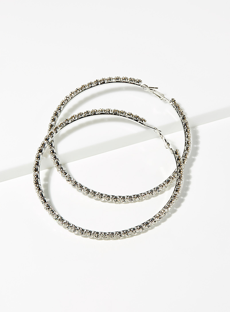 Giant shimmering hoops - Earrings - Silver