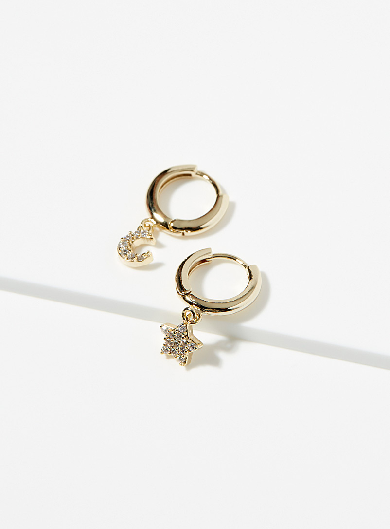 Simons Gold Moon and star earrings for women