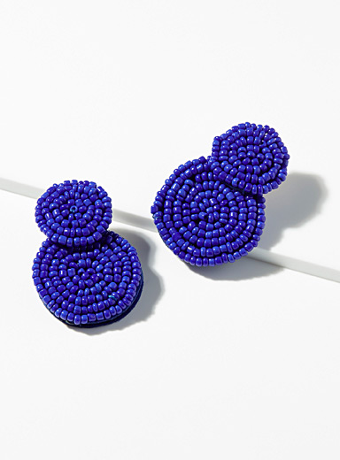 Simons Blue Indigo bead earrings for women