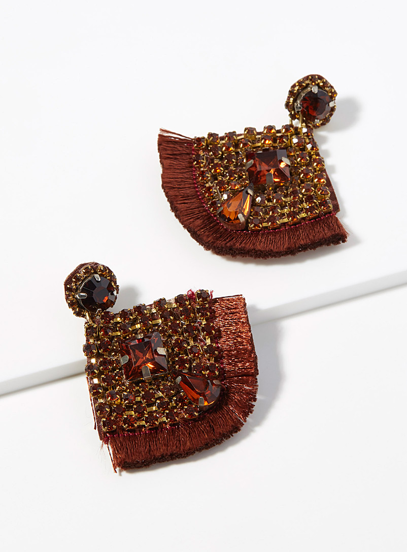 Simons Patterned Brown Woven rhinestone earrings for women
