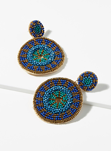 Simons Teal Golden mandala earrings for women