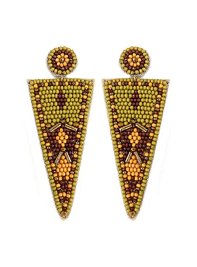 Simons Patterned Green Nomad triangle earrings for women