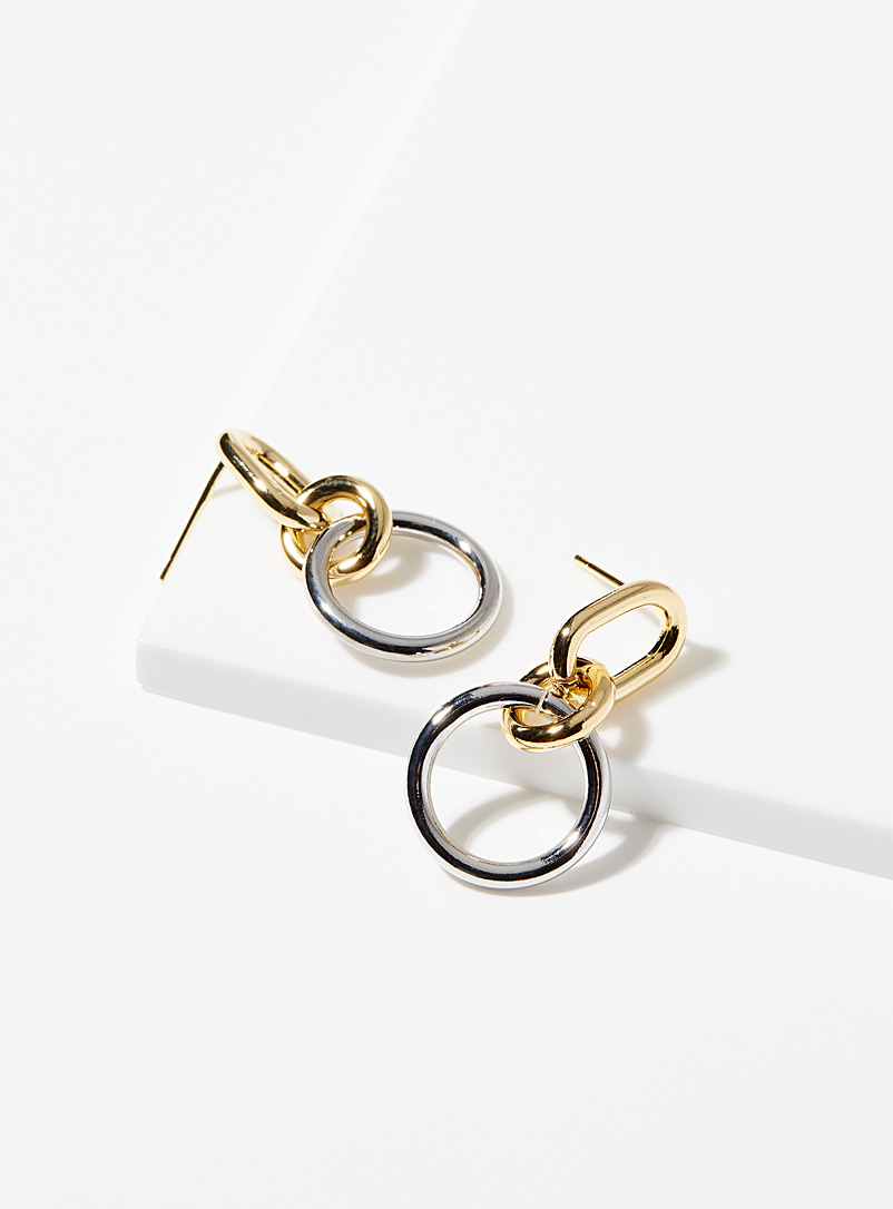 Simons Gold Two-tone link earrings for women