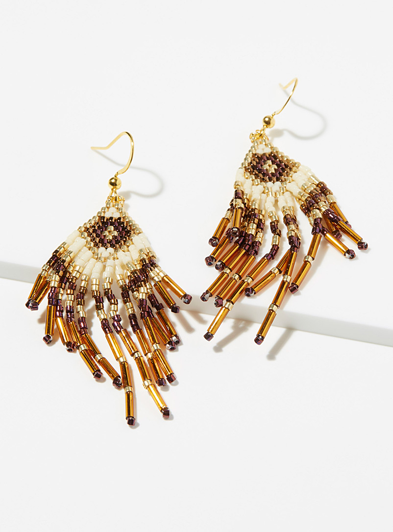 Simons Patterned Brown Dancing beads earrings for women