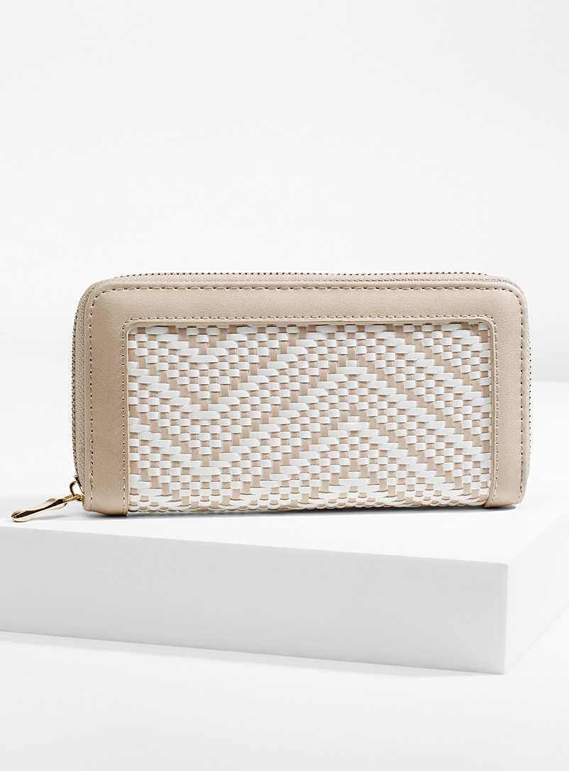 Simons Cream Beige Two-tone braided wallet for women