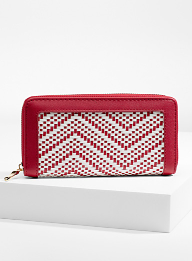 Simons Red Two-tone braided wallet for women