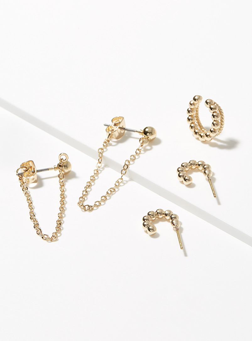 Simons Assorted Quintessential gold earrings Set of 3 for women