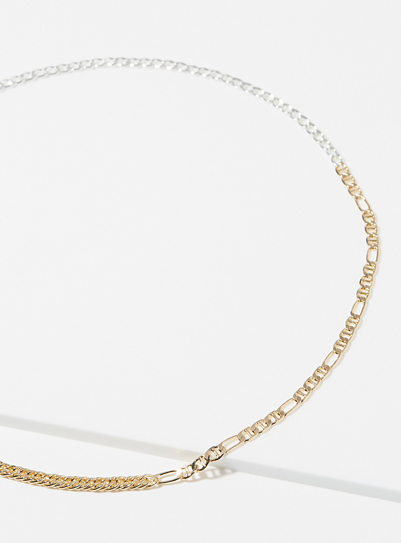 Simons Assorted Metallic trio chain necklace for women