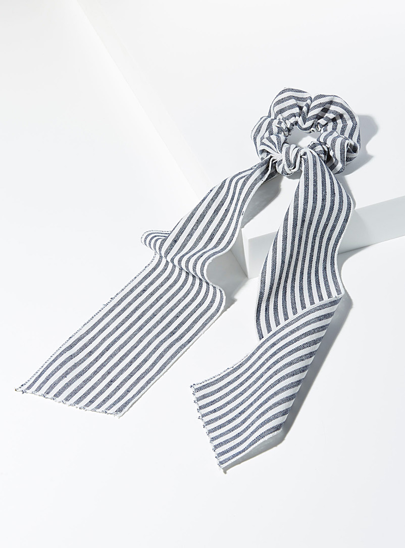 Simons Patterned Blue Striped ribbon scrunchie for women