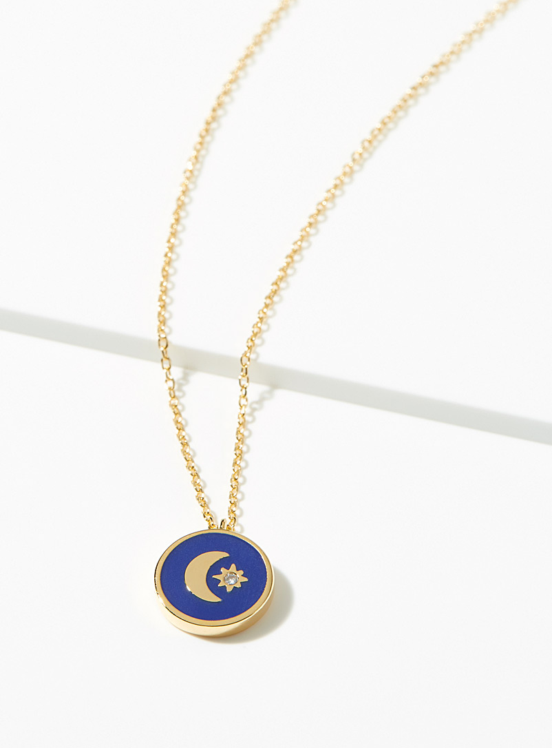 Simons Patterned Blue Starry night pendant necklace for women