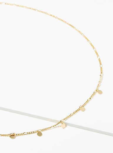 Simons Gold Sparkly disc necklace for women