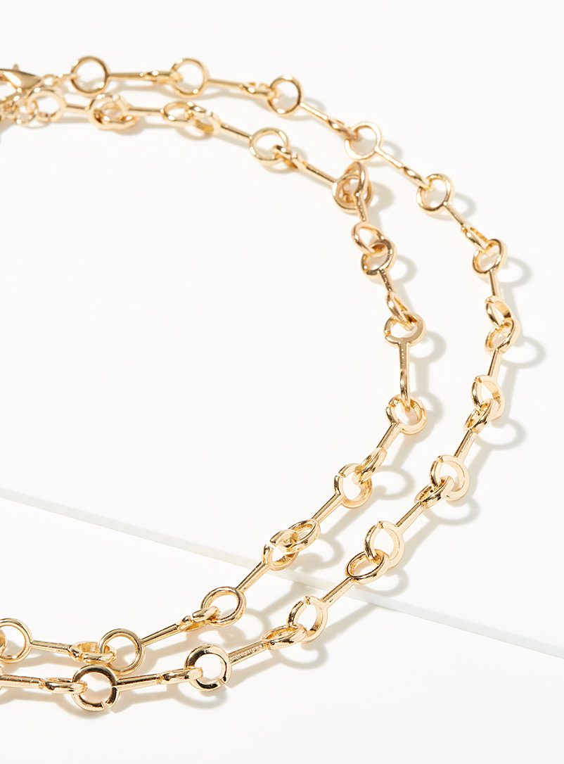 Simons Gold Stirrup link necklace for women