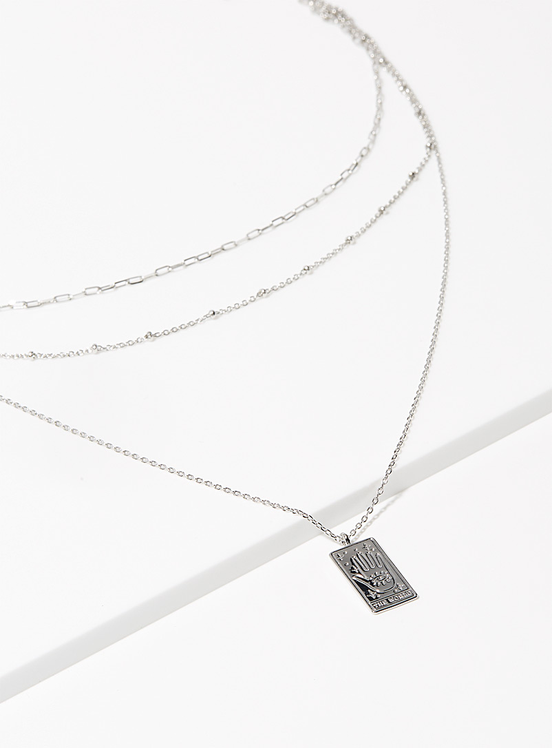 Simons Silver Eye of Fatima necklace for women
