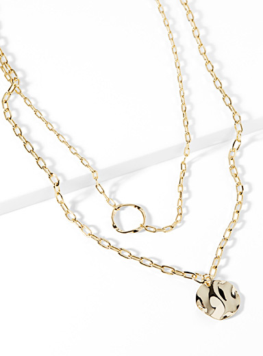 Disc and ring multi-chain necklace