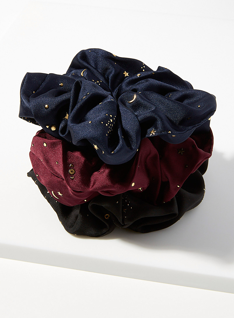 Simons Assorted Satiny constellation scrunchies  Set of 3 for women