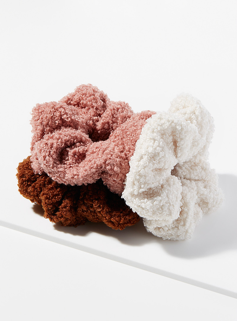 Colourful sherpa scrunchies  Set of 3