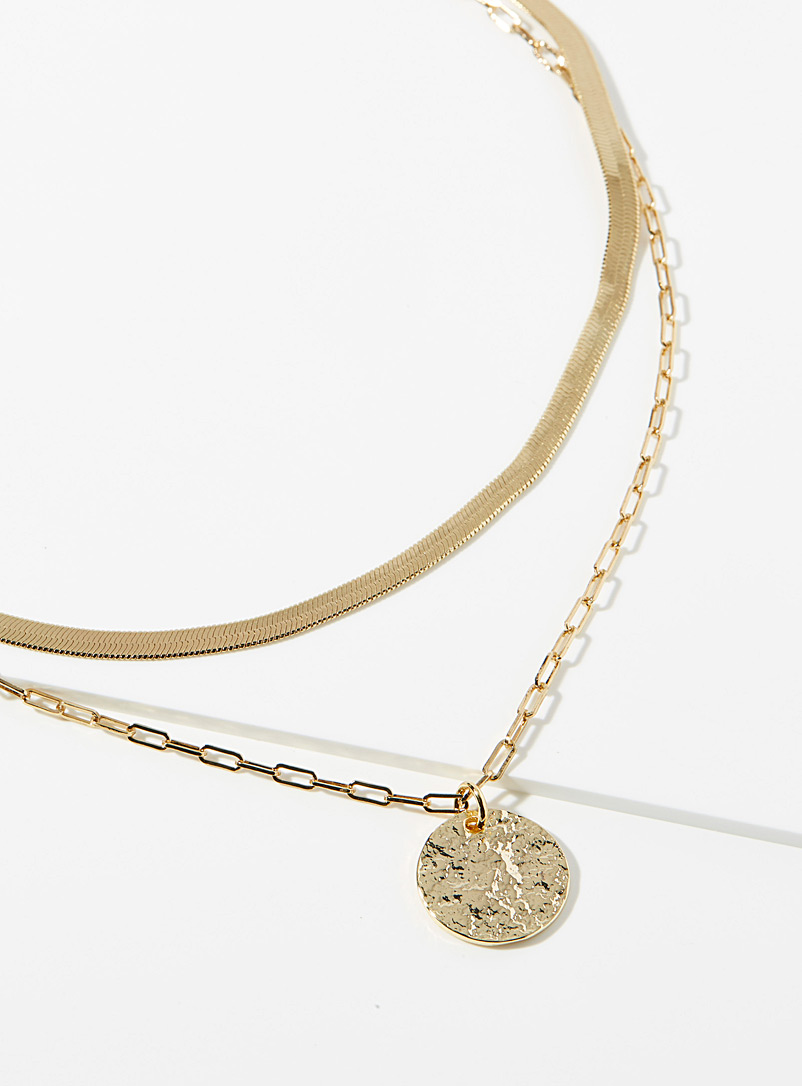 Simons Gold Medallion and chain necklace for women