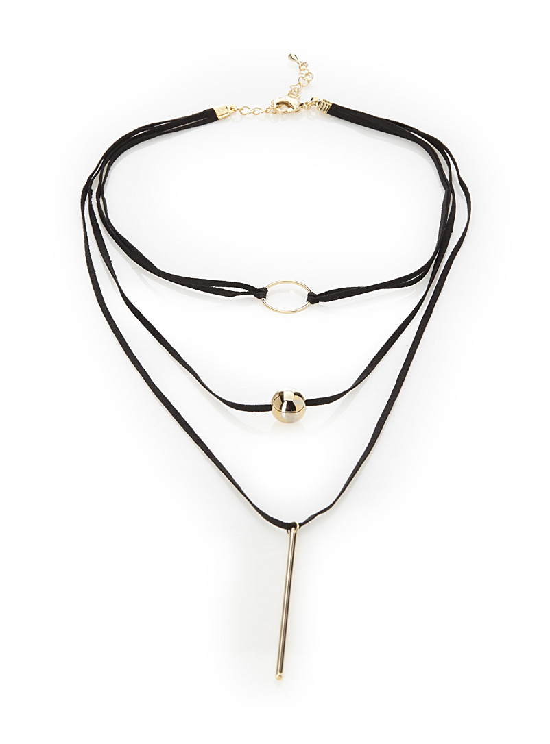 Three charm choker - Necklaces - Patterned Yellow