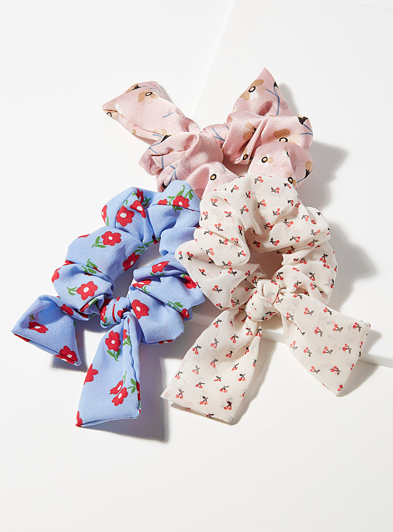 Simons Assorted Spring pattern bow scrunchies  Set of 3 for women