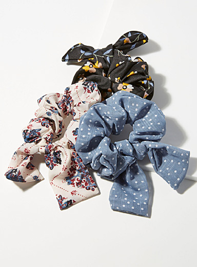Dotted floral bow scrunchies  Set of 3