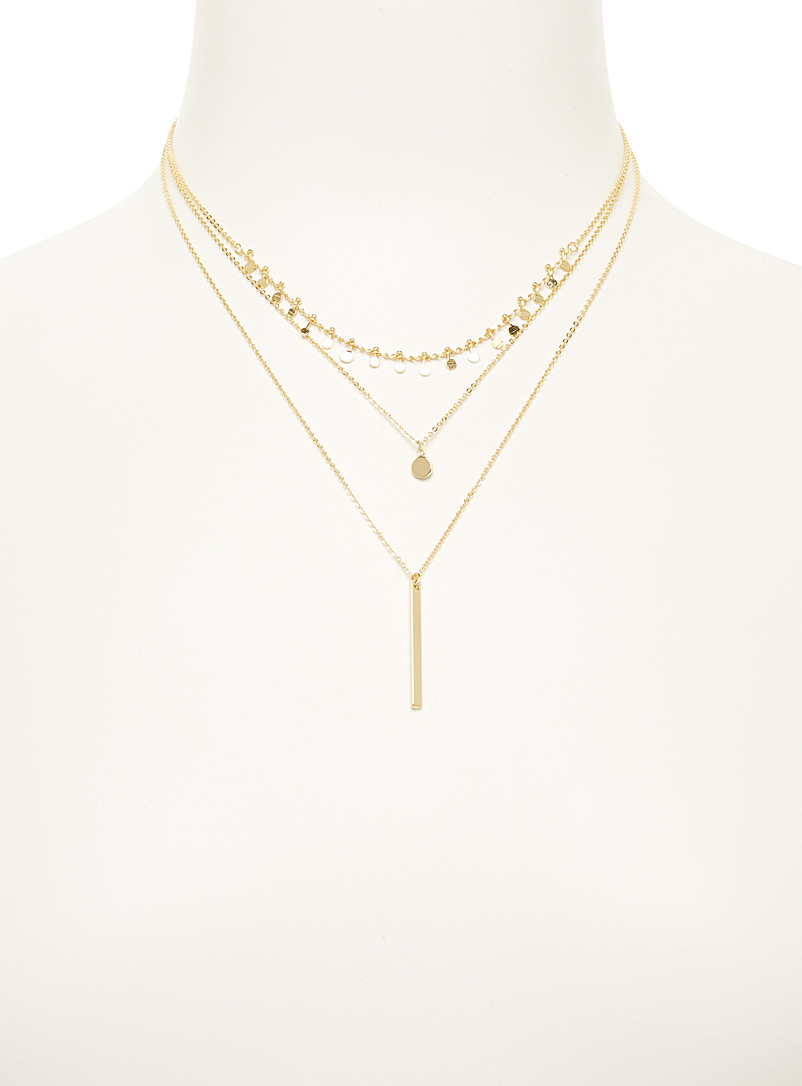 Simons Assorted Golden disc multi-strand necklace for women