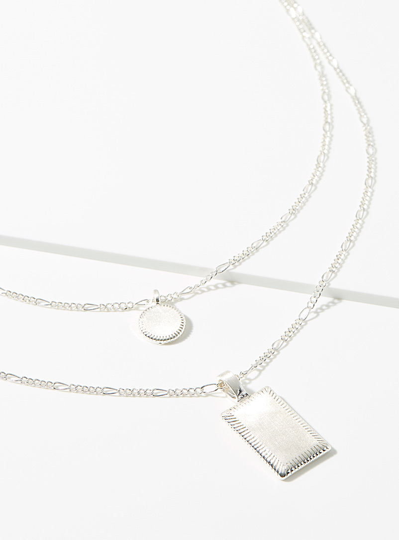 Simons Silver Geo pendant multi-strand necklace for women