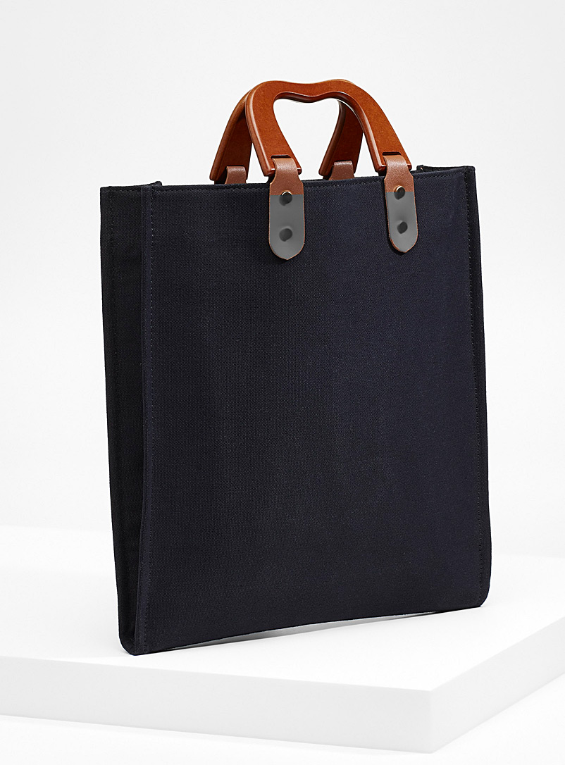 Wooden handle tote - Handheld Bags - Black