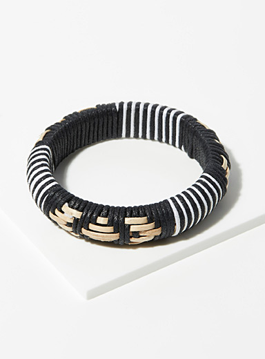 Simons Patterned Black Nomad style bracelet for women
