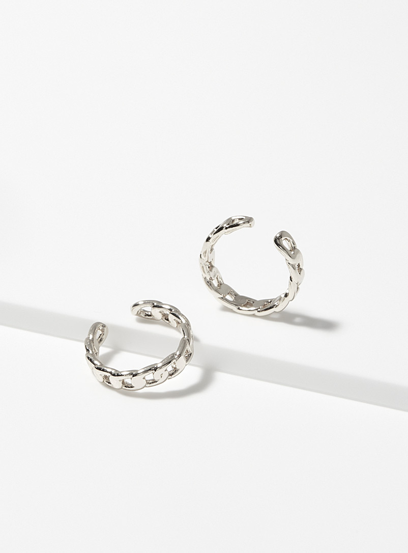 Simons Silver Forcat-link ear cuffs Set of 2 for women