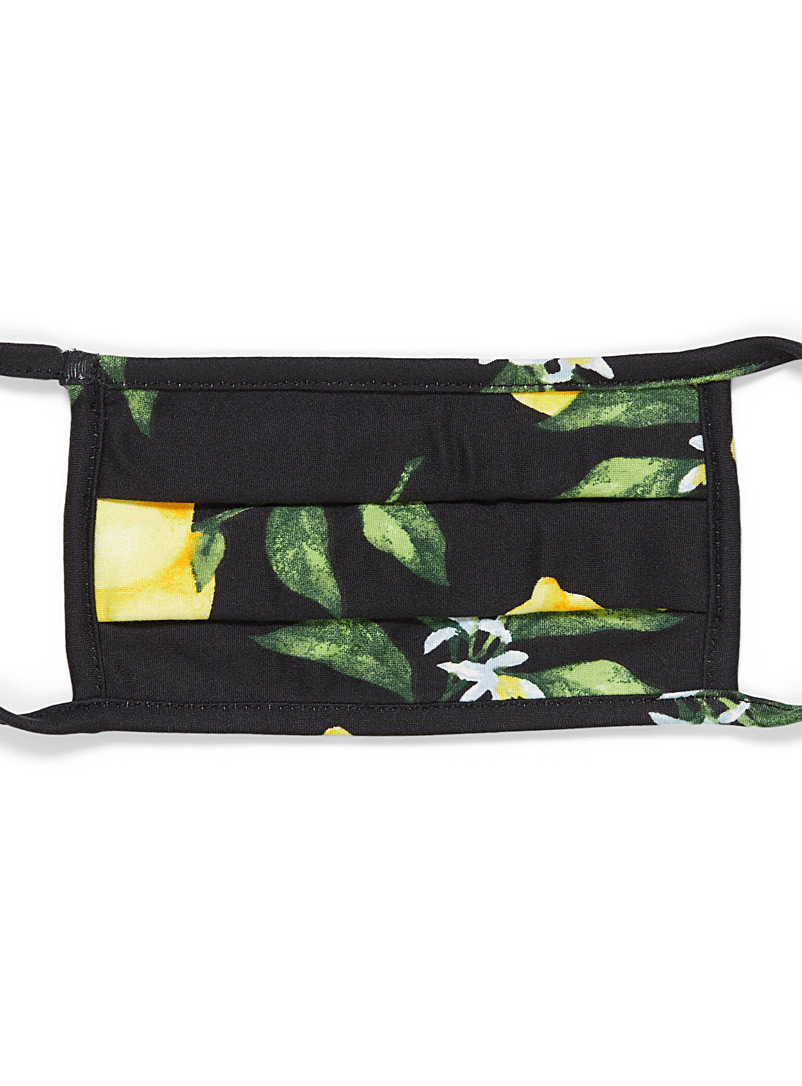 Simons Black Flowers and fruit fabric mask for women