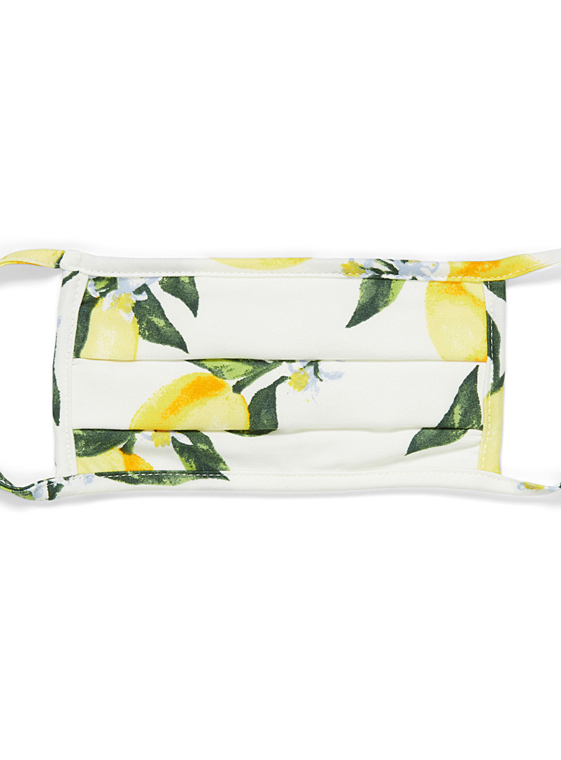 Simons Patterned white Flowers and fruit fabric mask for women