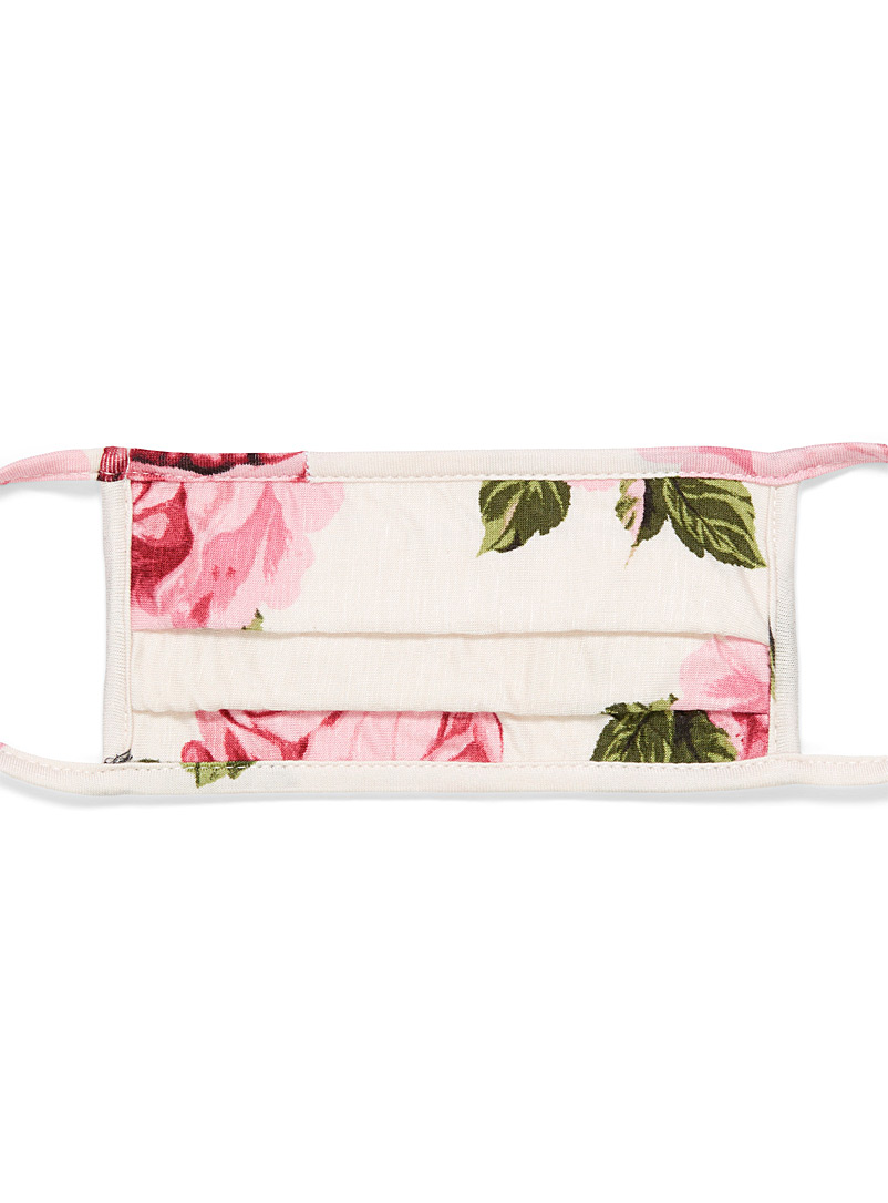 Simons Assorted white  Flowers and fruit fabric mask for women