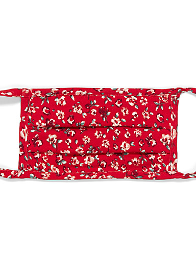 Simons Patterned Red Flowers and fruit fabric mask for women