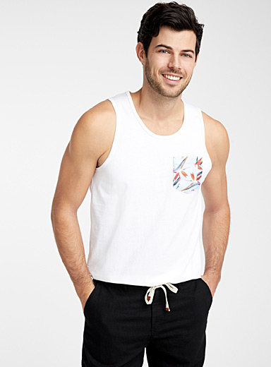 Le 31 Ivory White Organic cotton vacation-pocket tank for men
