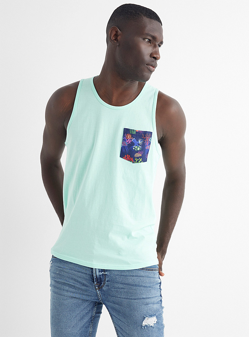 Le 31 Teal Organic cotton vacation-pocket tank for men
