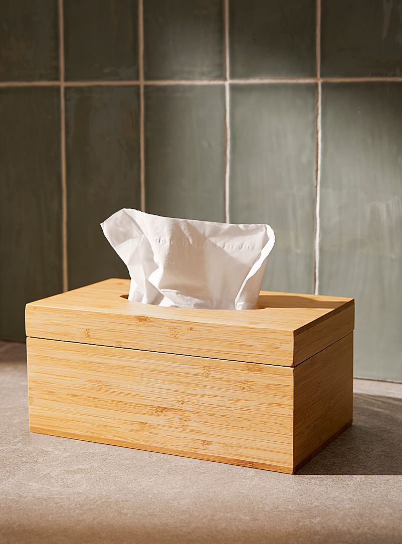 Natural bamboo tissue box - Accessories & Wastebaskets - Assorted