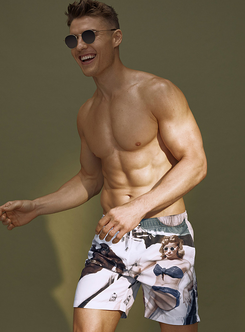 Tanning break swim trunk - Urban Trunks - Patterned White