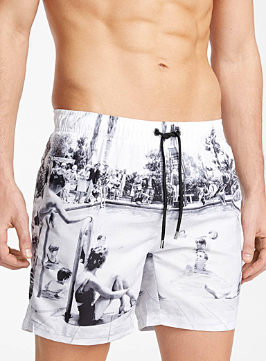 Franks Australia Black and White Pool party swim short for men