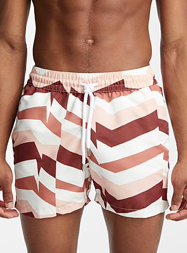 Distillation printed swim trunk