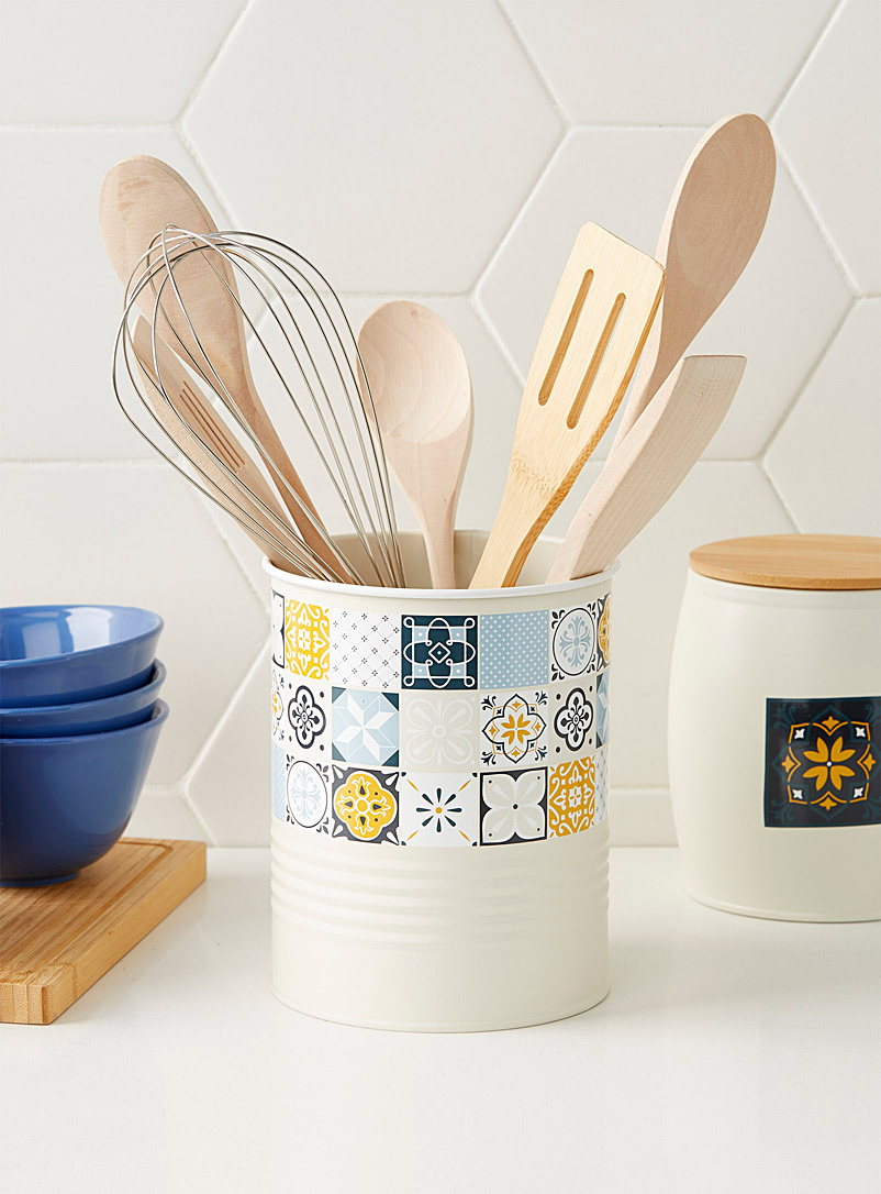 Nomad tile canister - Cooking Utensils & Containers - Patterned Ecru