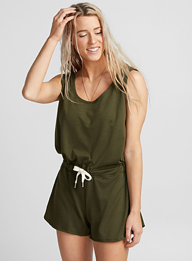 Crossover-back beach romper