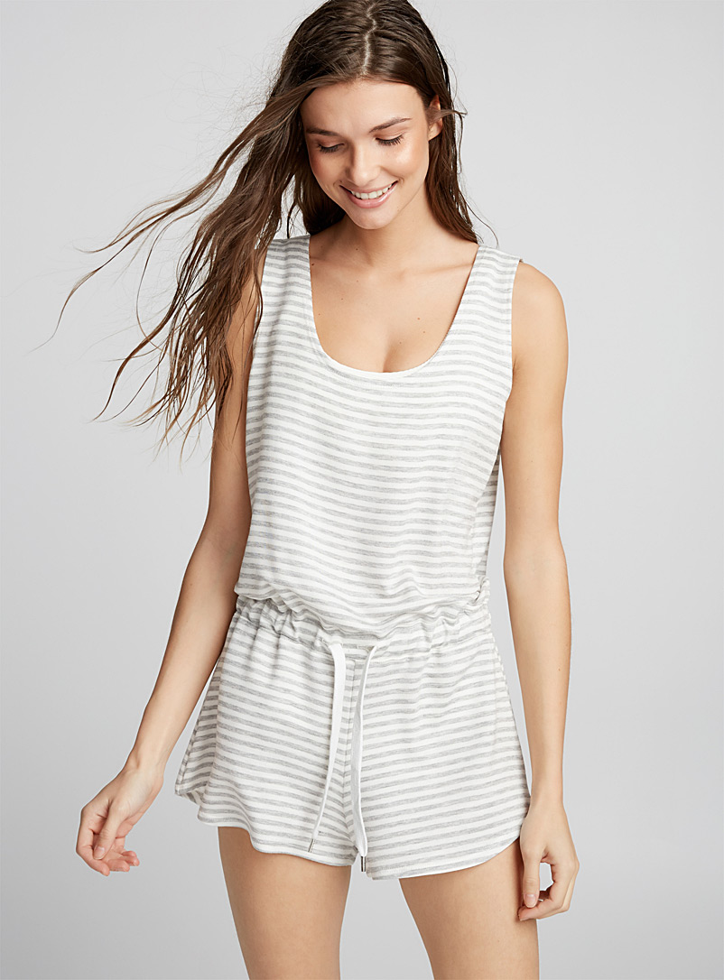 Crossover-back beach romper - Rompers - Grey