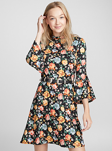 Printed mock-neck dress