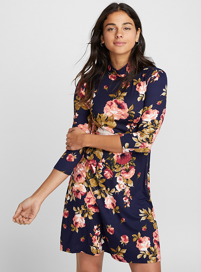 High neck ¾-sleeve dress - Fit & Flare - Marine Blue