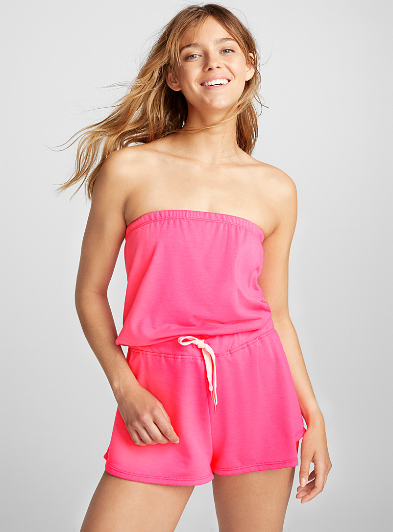 Neon band romper - Rompers - Pink