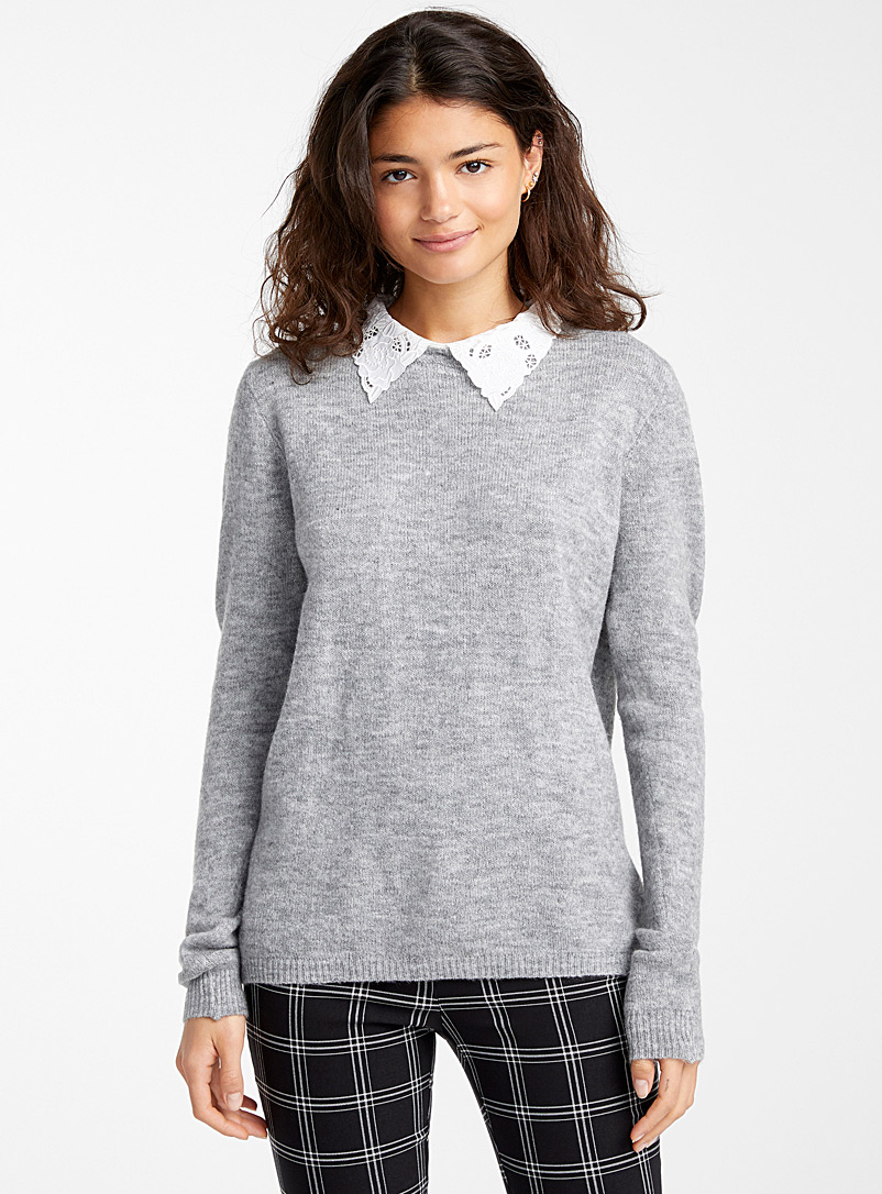 Le pull col Claudine floral - Pulls - Gris