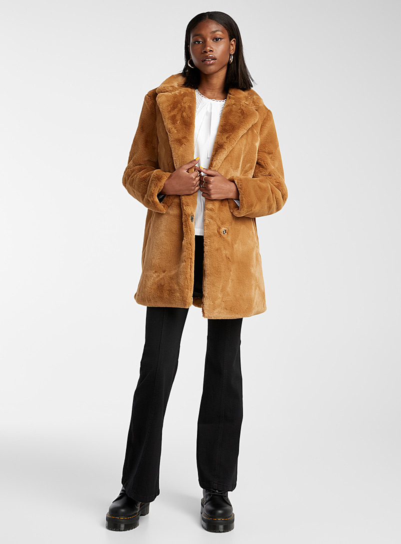 Noisy May Toast Soft faux-fur jacket for women