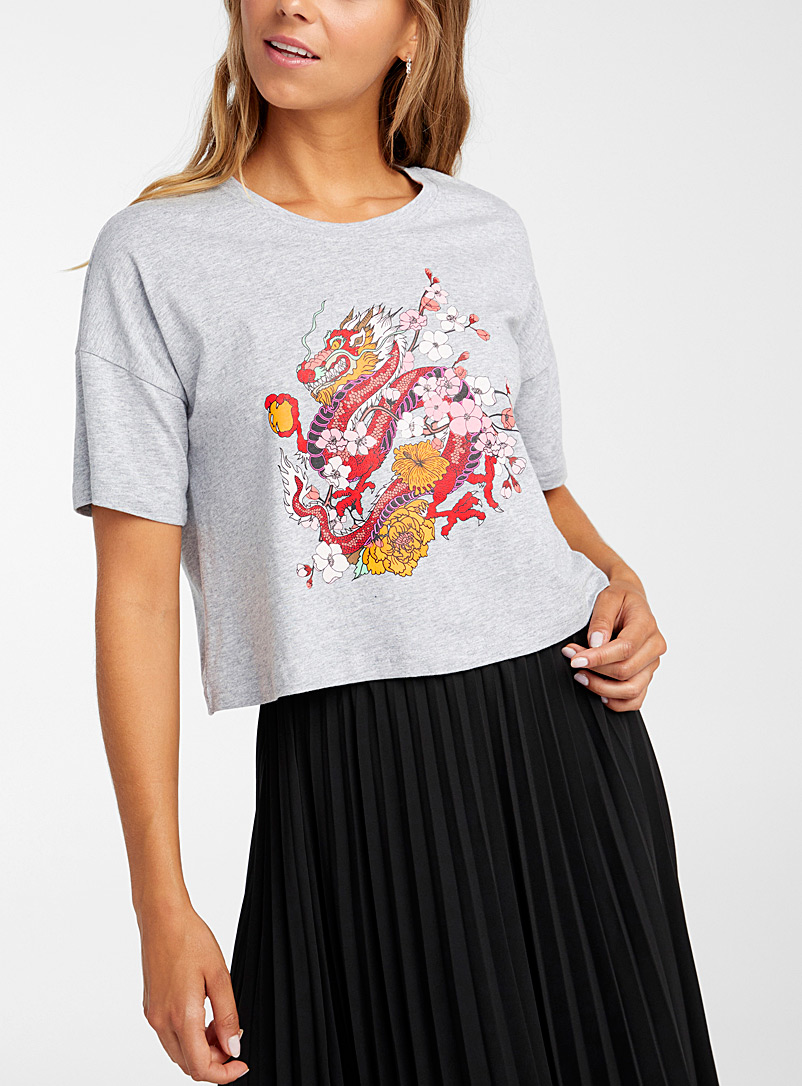Noisy May Grey Oriental cropped tee for women
