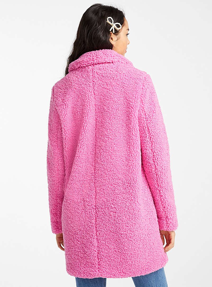 Noisy May: Le blouson sherpa rose hollywood Rose pour femme