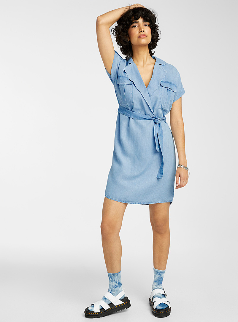 Noisy May Blue Utilitarian lyocell dress for women